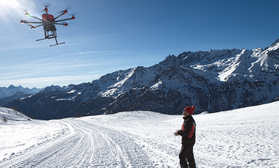 Cervino, valtorunenche, drone sniper, drone disgaggio valanghe